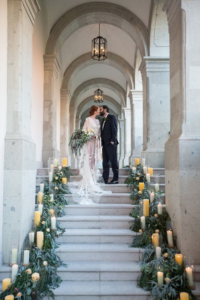 candle lit wedding aisle staircase