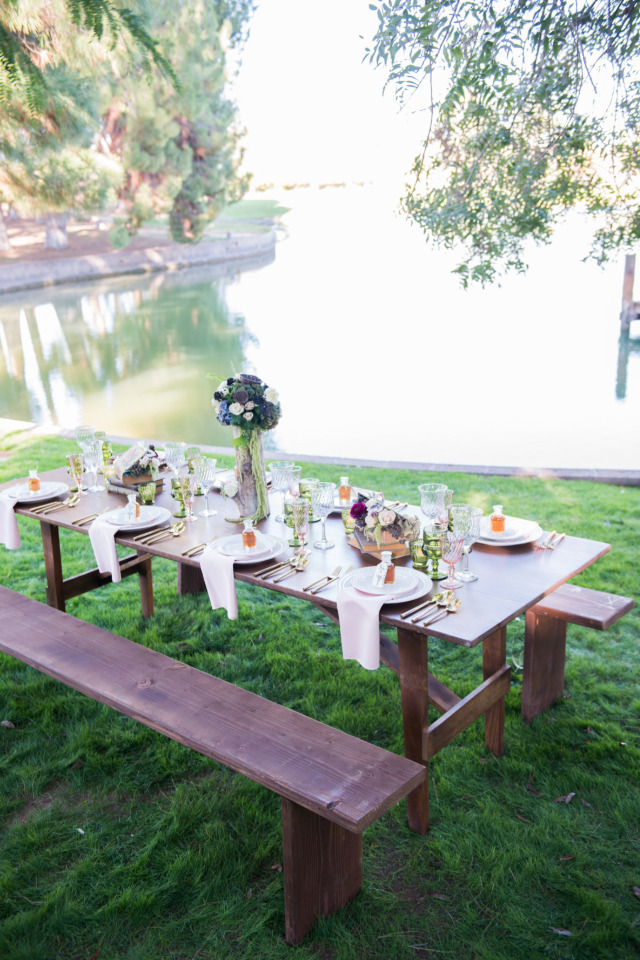 beautiful wedding reception venue by a lake