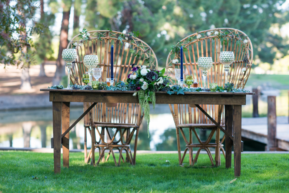 romantic blue natural wedding sweetheart table