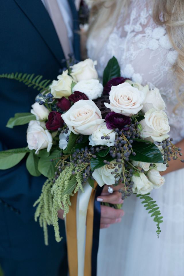 deep red and white wedding bouquet