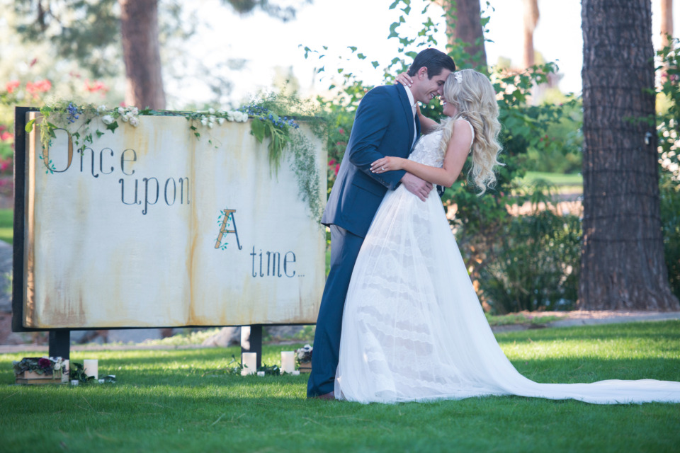 once upon a time story book wedding backdrop