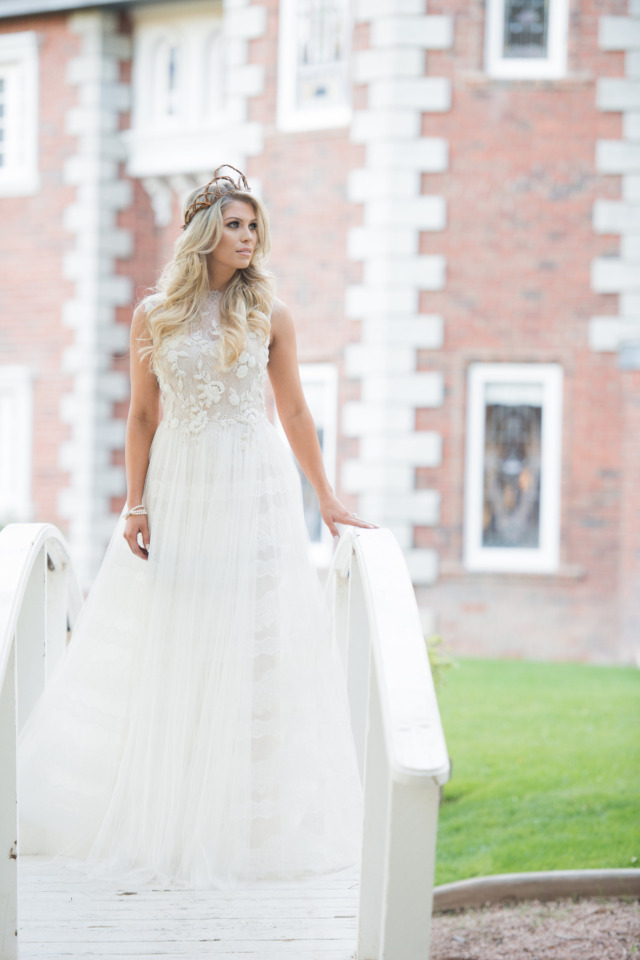 stunning floral and striped wedding dress