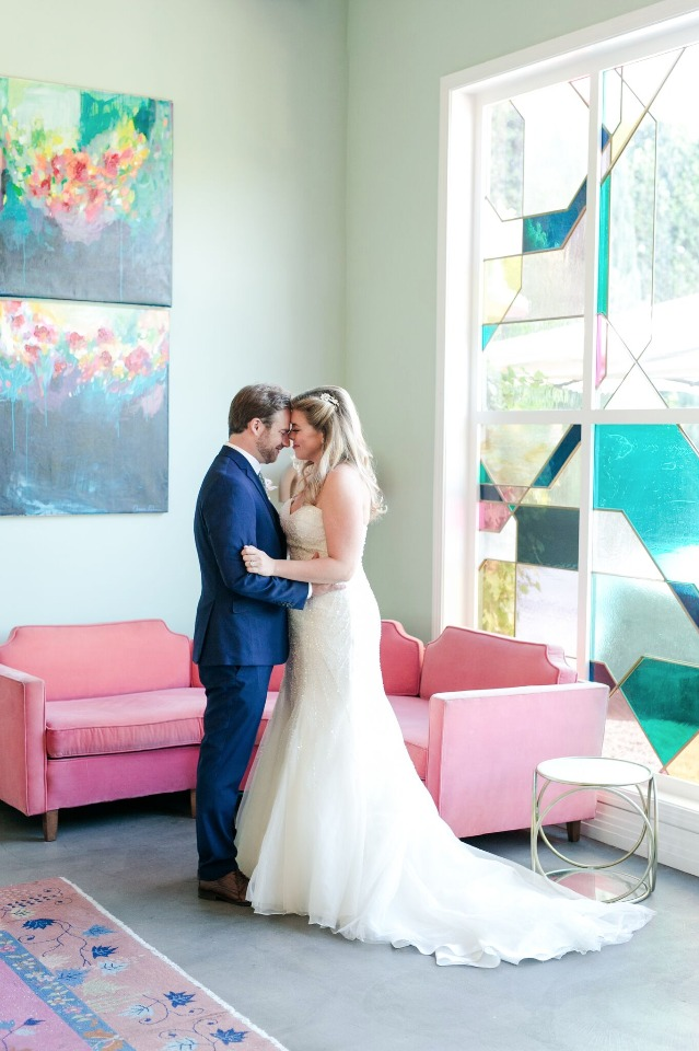 Fun modern venue for this adorable couple