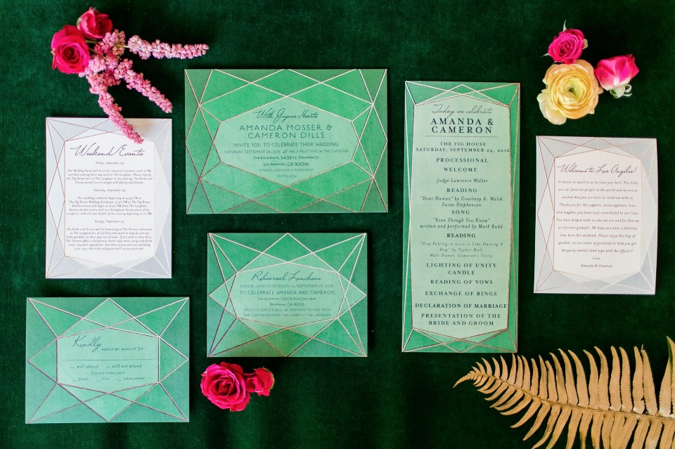 Geometric emerald invitation suite