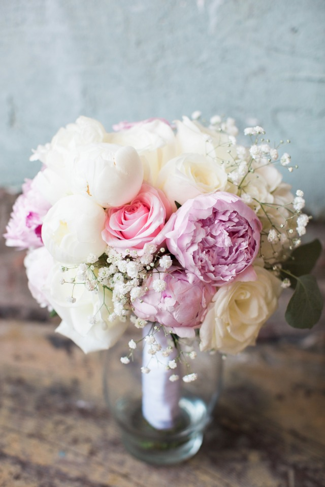 white pink and purple bouquets