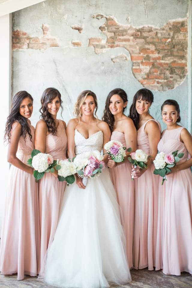 floor length pink bridesmaid dresses