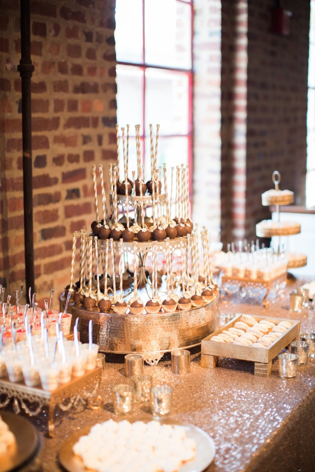 gold and white wedding dessert table