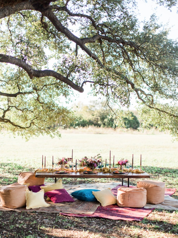 Modern boho chic outdoor table scape