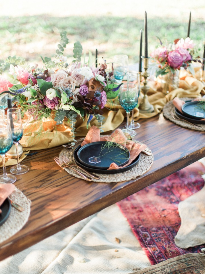 Modern boho chic table decor