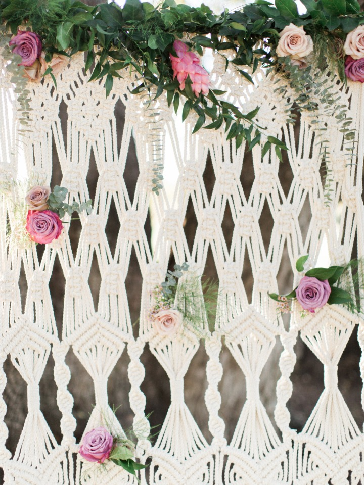 Cute boho wedding backdrop idea