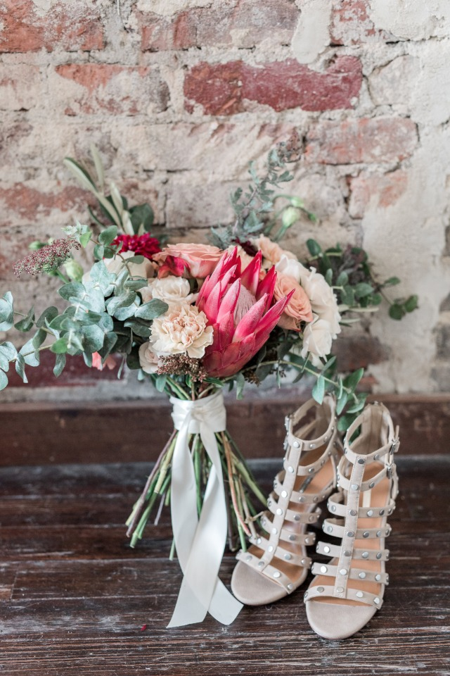 bridal flowers and wedding shoes