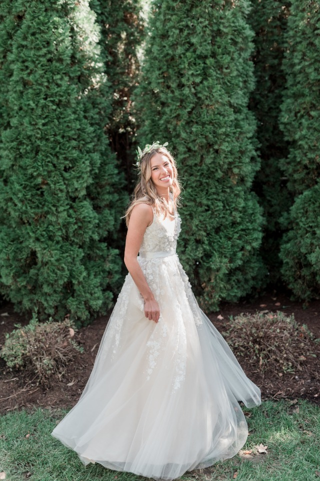 bride in her BHLDN wedding dress