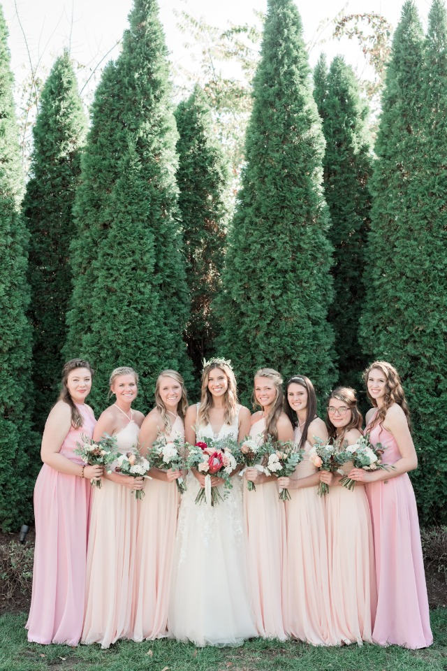 blush and pink bridesmaid dresses