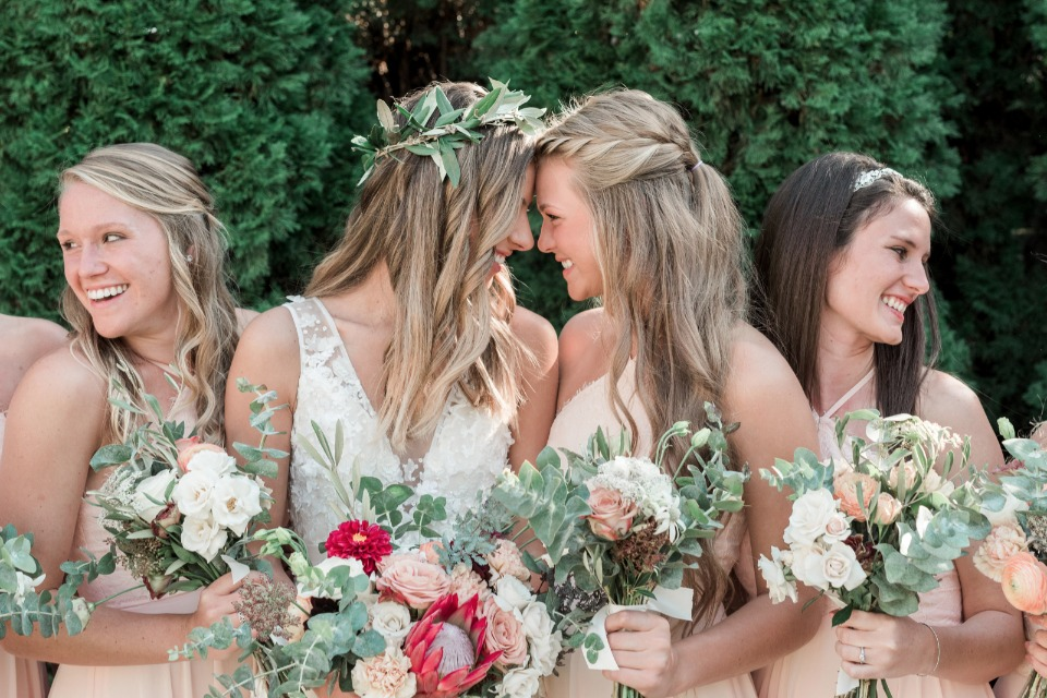 cute bride and bridesmaid photo