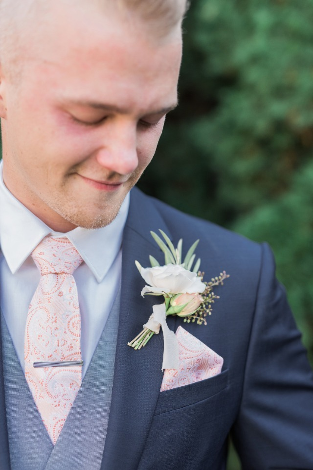 groom navy grey and pink wedding look