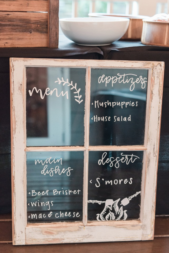 window wedding menu