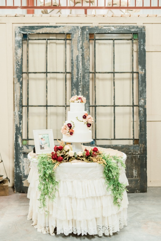 Rustic cake table with ruffles