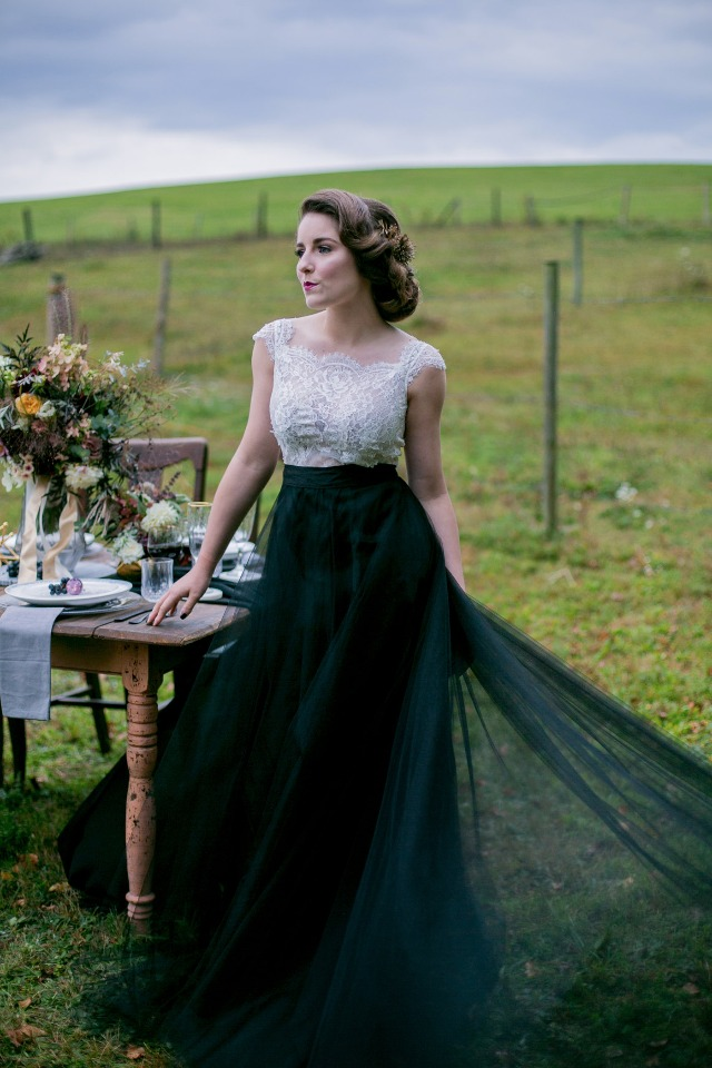 glamorous black and white wedding dress