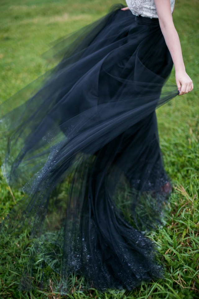 black tulle on your wedding day