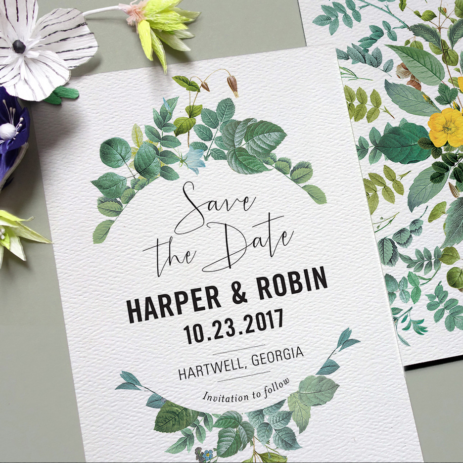 gotta love greenery save the date from Printable Press