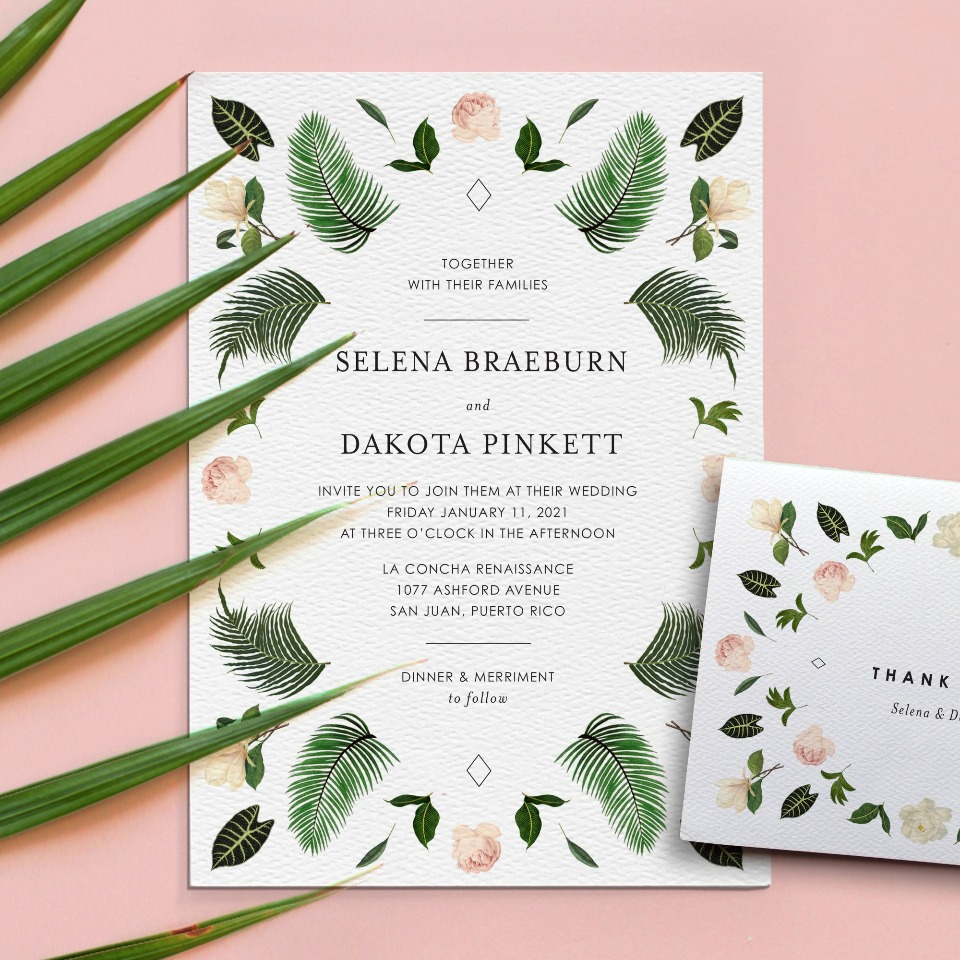 tropical themed wedding stationery from Printable Press