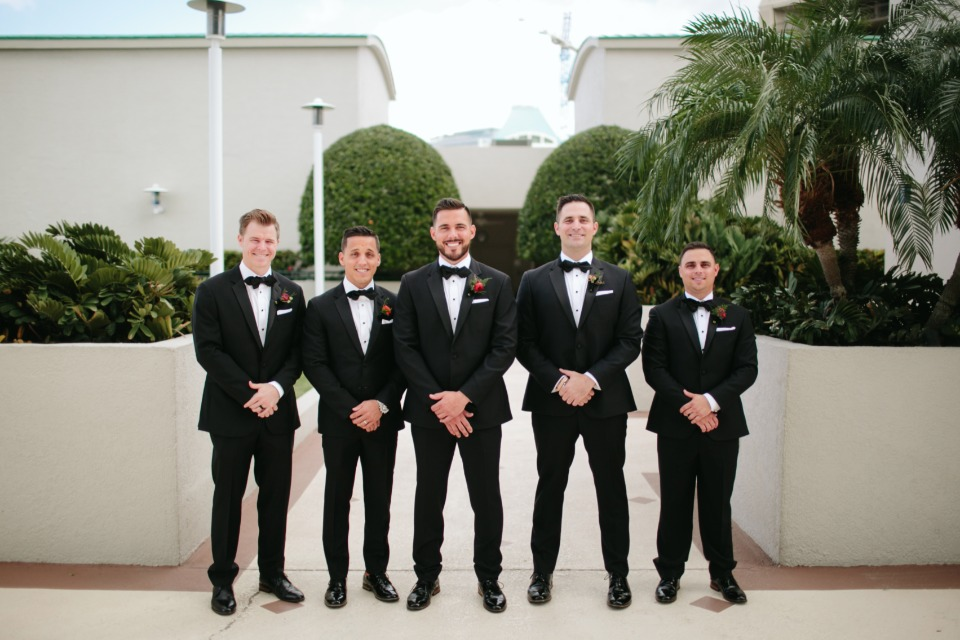 Groomsmen in tuxes