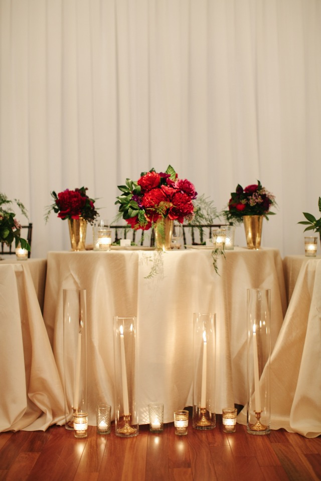 Romantic candle lit sweetheart table