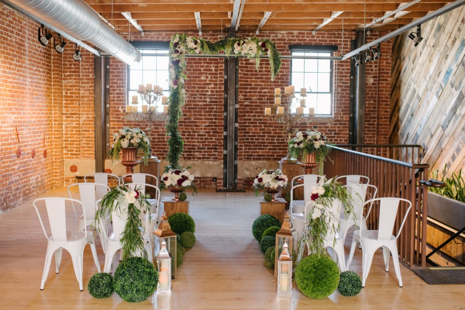 modern brewery wedding decor