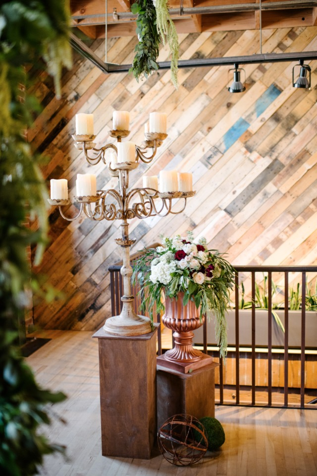 copper wood wedding decor