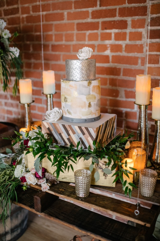 wedding cake on rustic palette swing