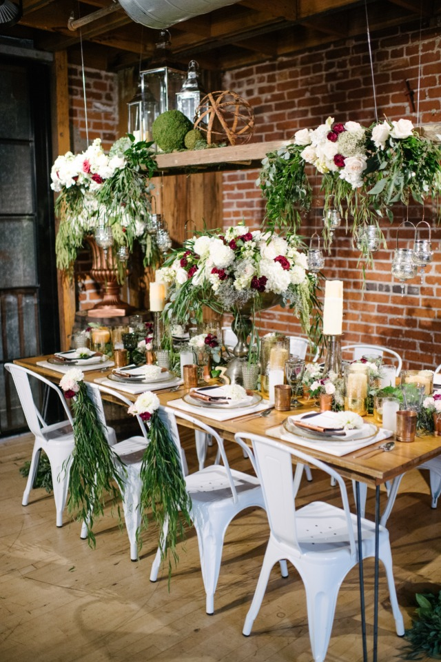white and copper wedding decor