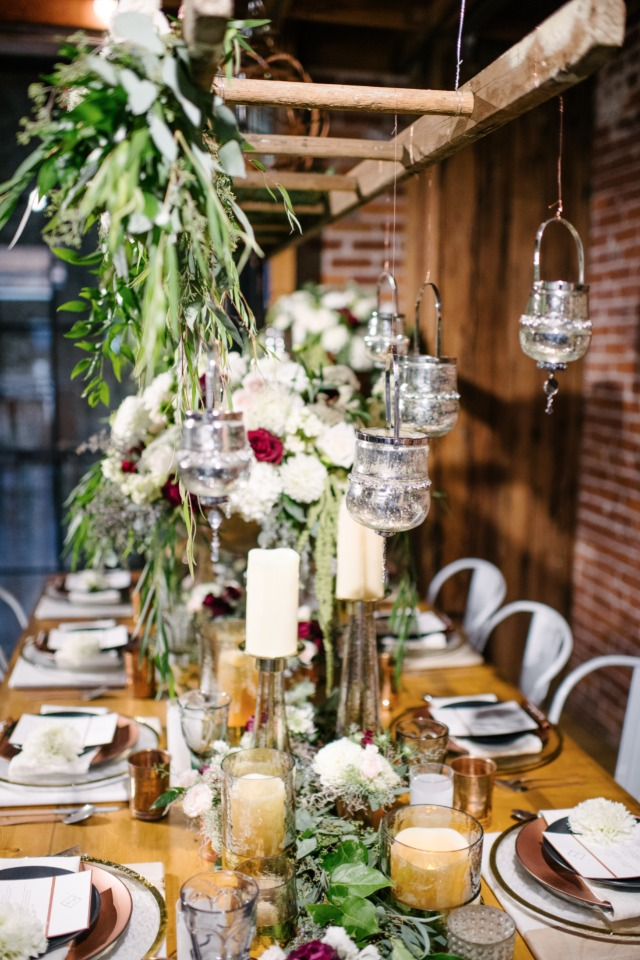 modern rustic chic brewery wedding decor