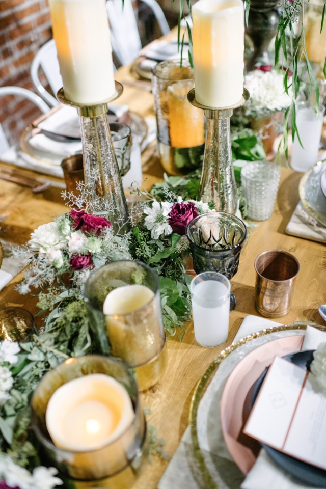 floral garland table centerpiece