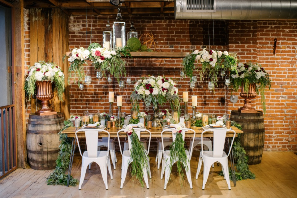 shabby chic copper and brick wedding decor