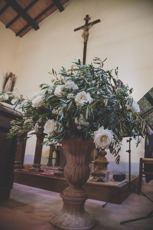 white and green floral decor
