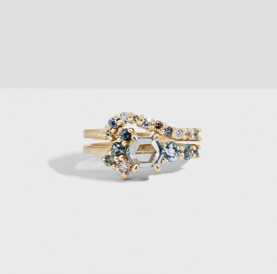 Bario Neal Hex Sapphire Cluster ring and band