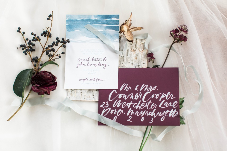 Blue and burgundy invitation suite