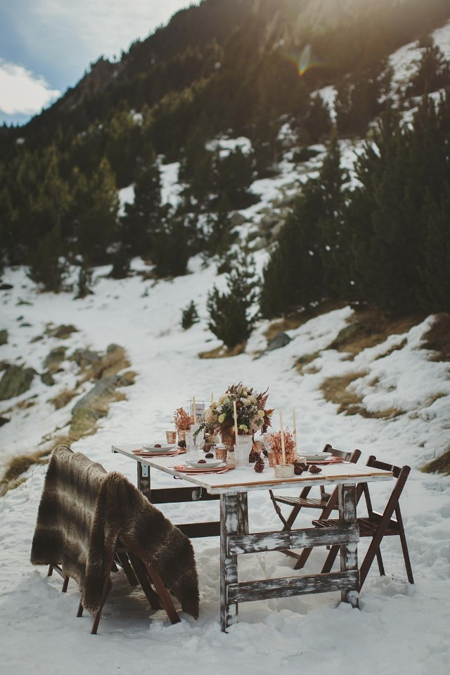 Rustic winter table scape with copper
