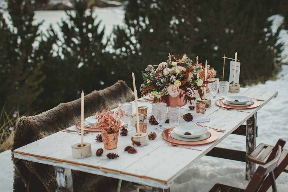Copper winter wedding table scape