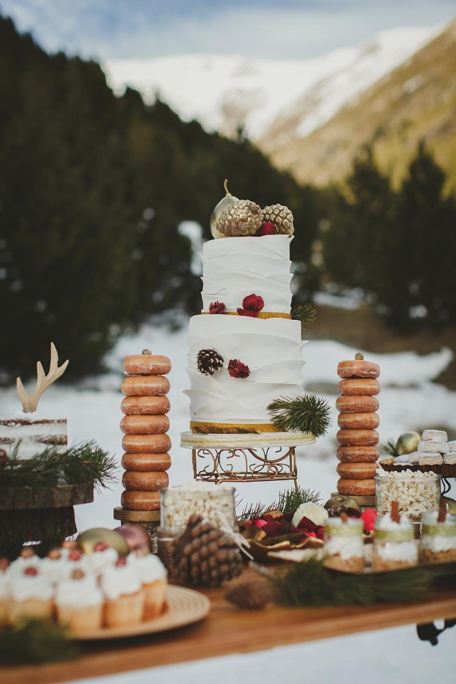 Winter cake and dessert table