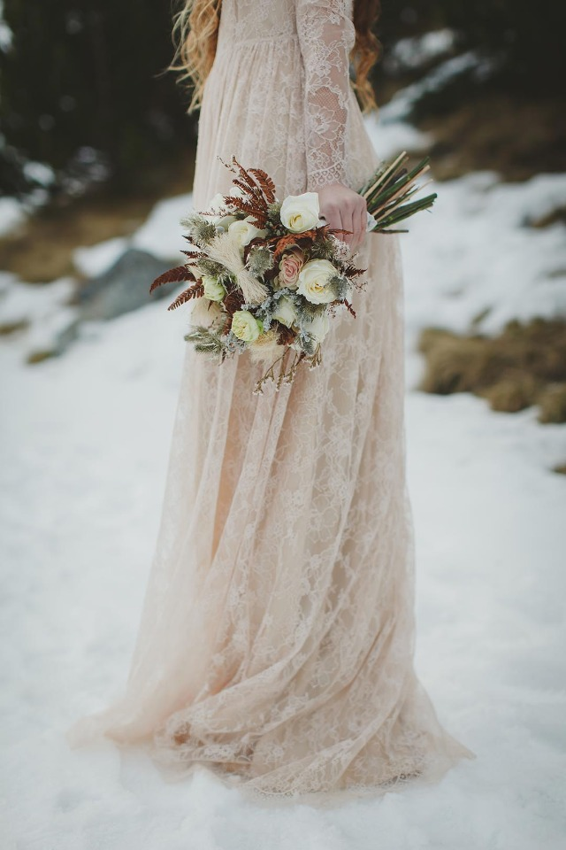 Lace wedding dress and flowers