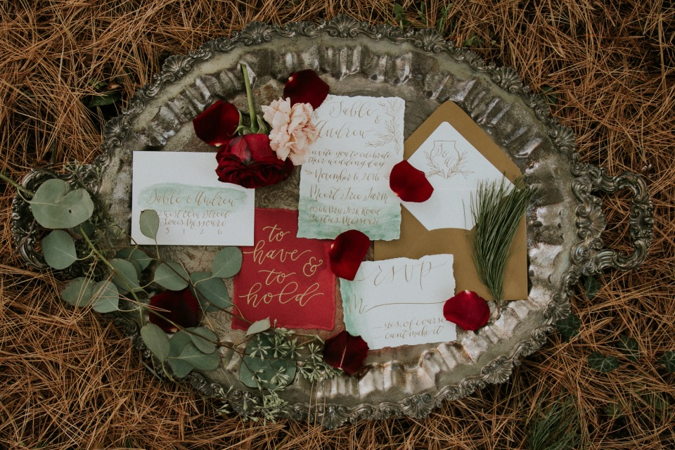 Red and gold invitation suite