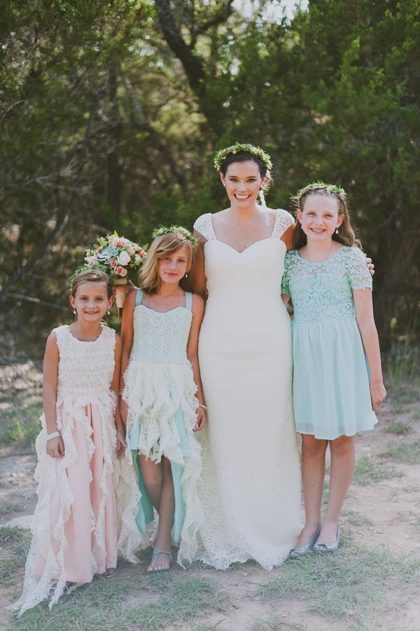mint and peach flower girl dresses