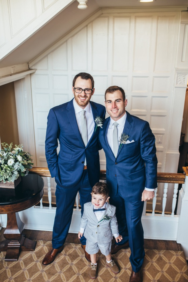 groom and best man in blue suits