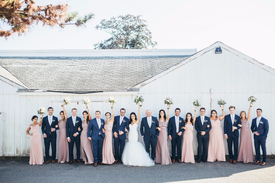 pink and navy wedding party