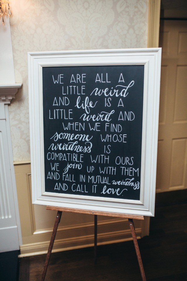 wedding quote chalkboard sign
