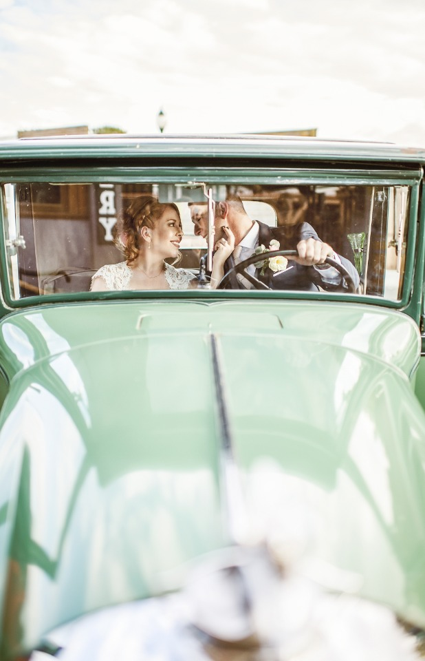 vintage wedding car for the bride and groom