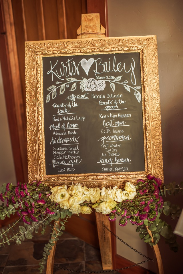 wedding party framed chalkboard sign
