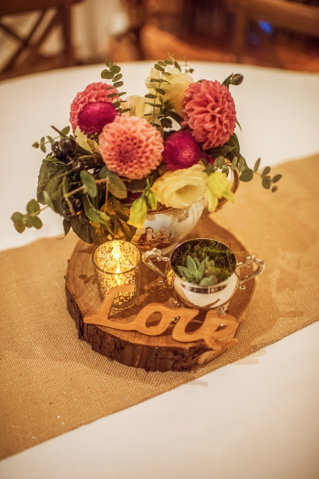 rustic and simple centerpiece