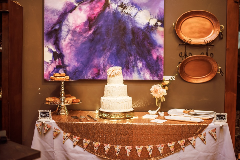 copper and sequin wedding cake table